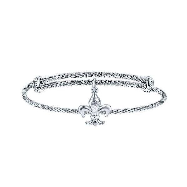 Stainless Cable Bracelet with sterling silver Fleur de Lis dangle Carroll's Jewelers Doylestown, PA