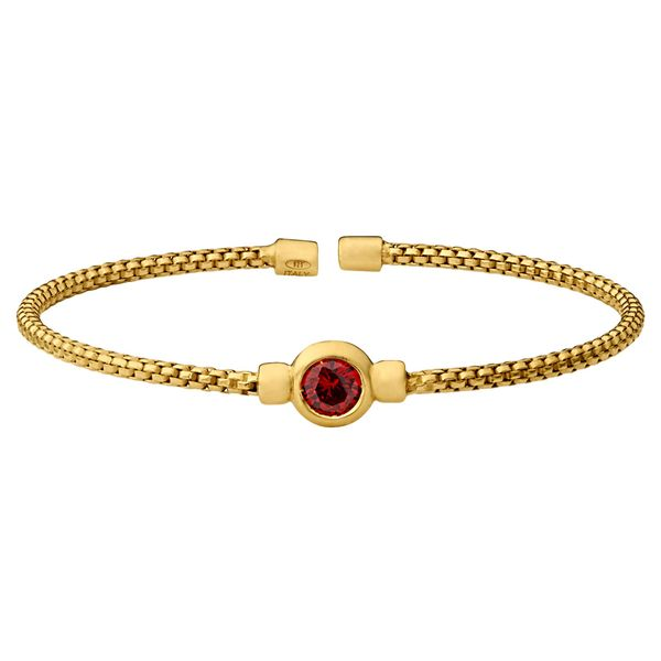 Gold over Sterling Silver Flexible cuff bracelet with red stone Carroll's Jewelers Doylestown, PA