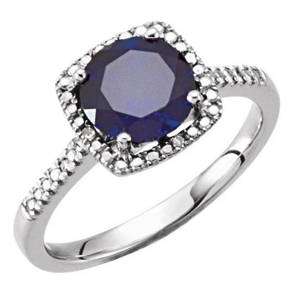 SS February Birthstone Ring with Lab Created Sapphire Carroll's Jewelers Doylestown, PA