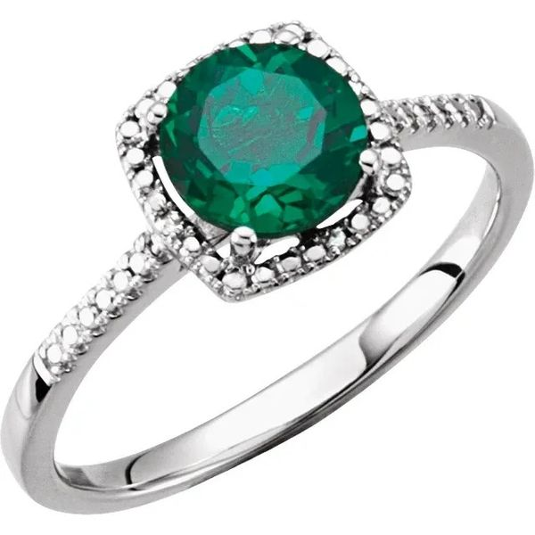 SS May Birthstone Ring with Lab Created Emerald Carroll's Jewelers Doylestown, PA