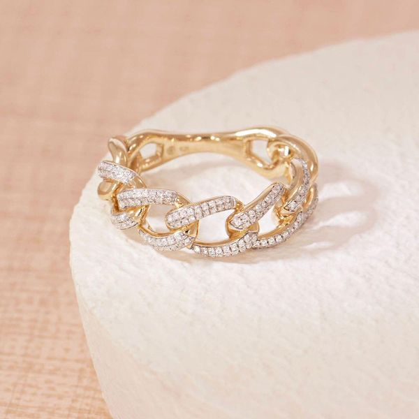 Yellow over SS chain link ring with diamonds Carroll's Jewelers Doylestown, PA