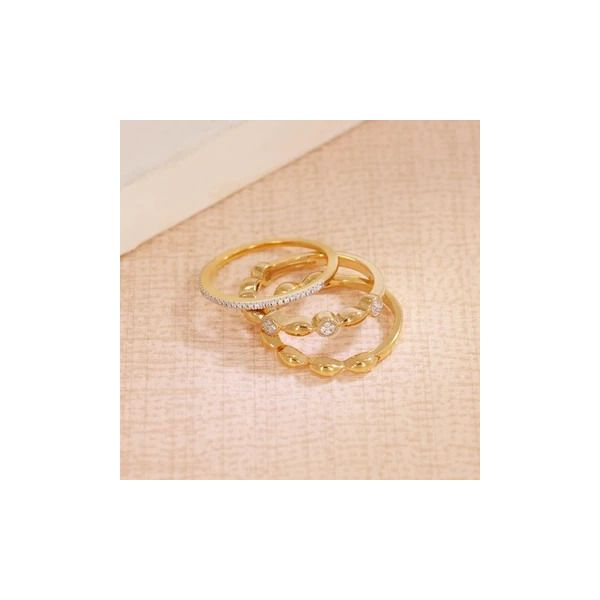 Yellow over sterling set of 3 stacking rings. Image 2 Carroll's Jewelers Doylestown, PA