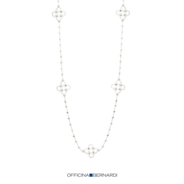 Sterling Silver Clover Station Necklace with Moon Beads Carroll's Jewelers Doylestown, PA