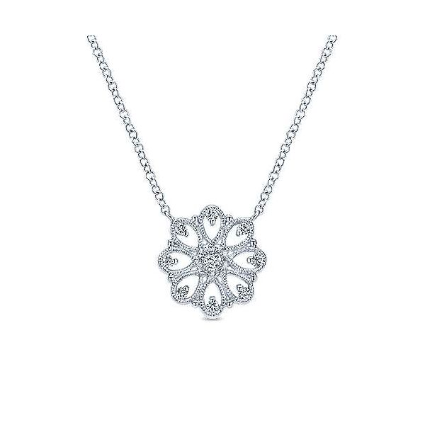 SS Vintage Inspired Diamond necklace Carroll's Jewelers Doylestown, PA
