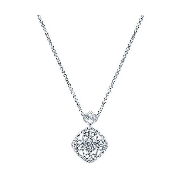 SS Vintage Inspired Diamond Pendant Carroll's Jewelers Doylestown, PA