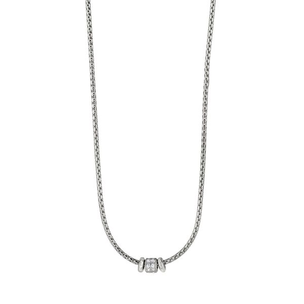 SS Cable Necklace with simulated diamonds Carroll's Jewelers Doylestown, PA