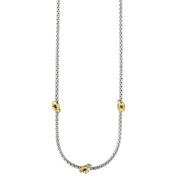 Sterling Silver 2 tone cable necklace with knot stations Carroll's Jewelers Doylestown, PA