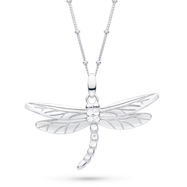 Sterling Silver Blossom Flyte Dragonfly Pendant With 9= Round White Topaz Carroll's Jewelers Doylestown, PA