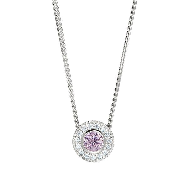 SS Simulated Pink Sapphire October Birthstone Pendant Carroll's Jewelers Doylestown, PA