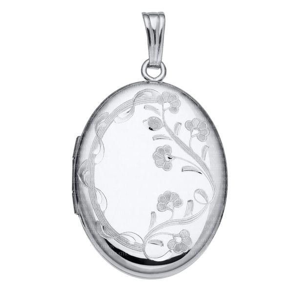 Sterling Silver Oval hang engraved locket and chain Carroll's Jewelers Doylestown, PA