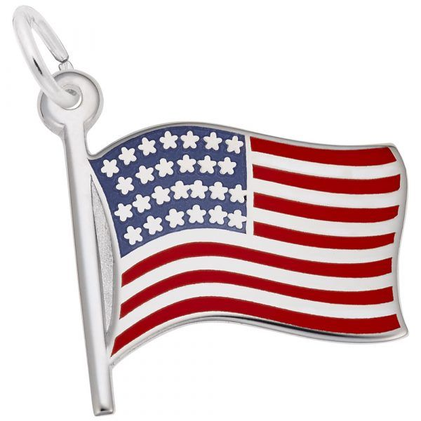 Sterling Silver American Flag Charm Carroll's Jewelers Doylestown, PA