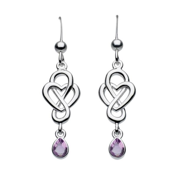 Sterling Silver Heritage Celtic Loop Dangle Earrings With 2= Pear shape amethyst stones Carroll's Jewelers Doylestown, PA