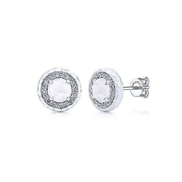 SS Mother of Pearl and White Sapphire Studs Carroll's Jewelers Doylestown, PA