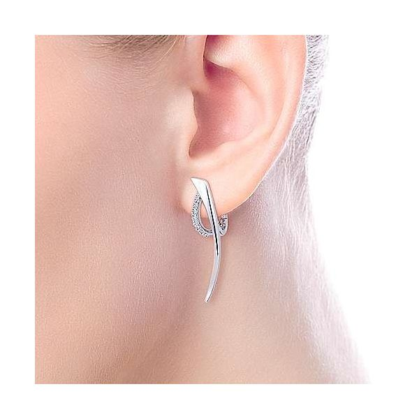 SS Fashion Drop Earring with White Sapphire Image 3 Carroll's Jewelers Doylestown, PA