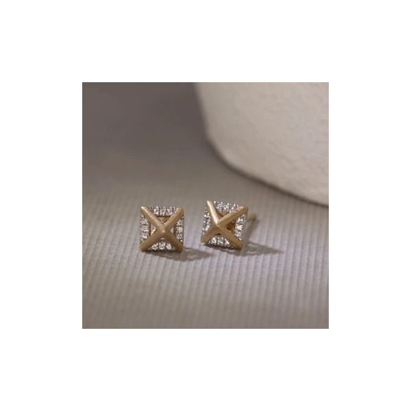 Yellow over SS .05ct TW Diamond Fashion Studs Image 2 Carroll's Jewelers Doylestown, PA