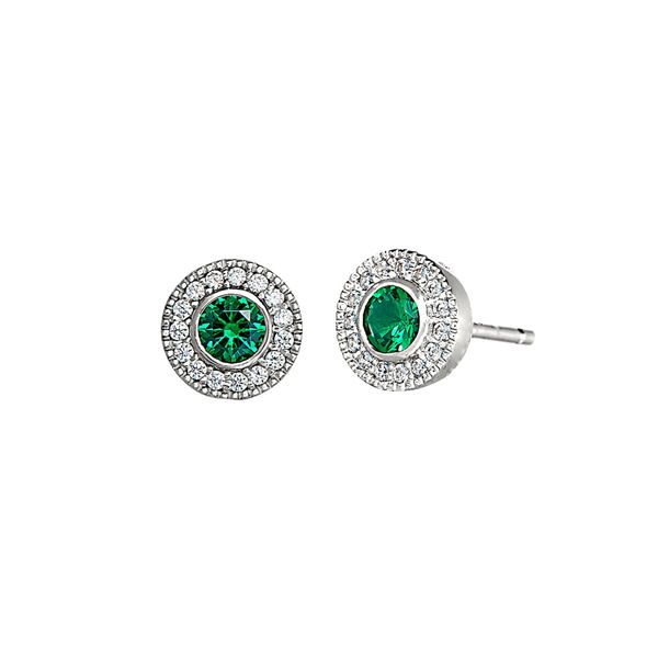 Sterling Silver simulated Emerald May Birthstone Earrings Carroll's Jewelers Doylestown, PA