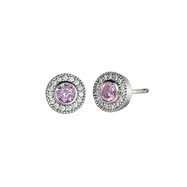 Sterling Silver simulated Pink Sapphire October Birthstone Earrings Carroll's Jewelers Doylestown, PA