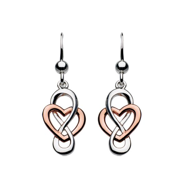Sterling Silver and Rose Celtic Looped Heart Earrings Carroll's Jewelers Doylestown, PA