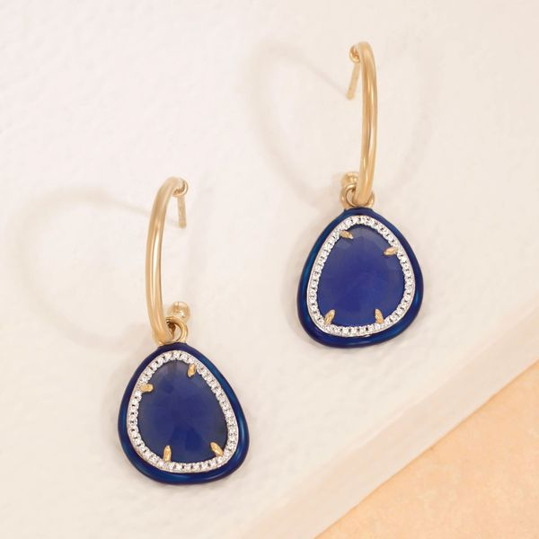 Yellow over STerling Silver Blue Oxyx dangle earrings Carroll's Jewelers Doylestown, PA