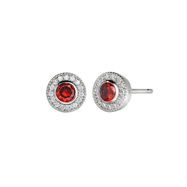 Sterling Silver simulated Garnet January Birthstone Earrings Carroll's Jewelers Doylestown, PA