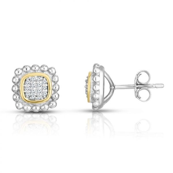 SS/18kt YG Pave Diamond Earrings Carroll's Jewelers Doylestown, PA