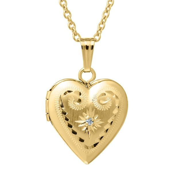 Child's Gold Filled Hand Engraved heart locket Carroll's Jewelers Doylestown, PA