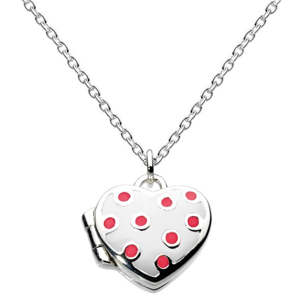 Child's heart polka dot locket Carroll's Jewelers Doylestown, PA
