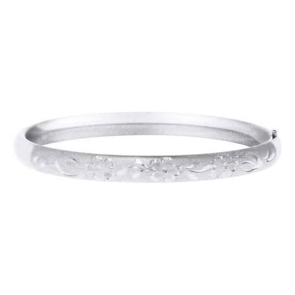 Childrens Sterling Silver Bangle Bracelet Brush Finish with Hand Engraved Floral Design Carroll's Jewelers Doylestown, PA