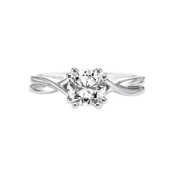 Criss Cross Shank Solitaire Engagement Ring Image 2 The Ring Austin Round Rock, TX