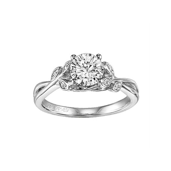 White Gold Leaf Design Engagement Ring The Ring Austin Round Rock, TX