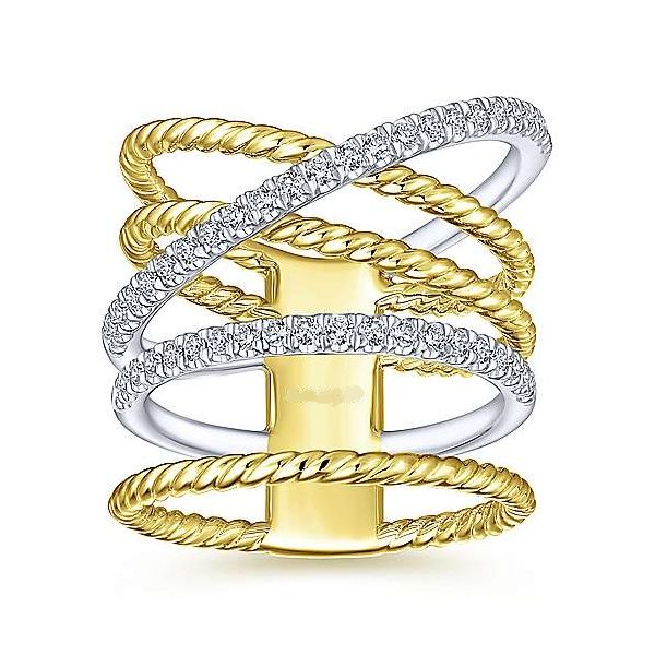 14kt WG/YG Mulit Row Criss Cross Fashion Ring 1/3ctw Image 2 The Ring Austin Round Rock, TX