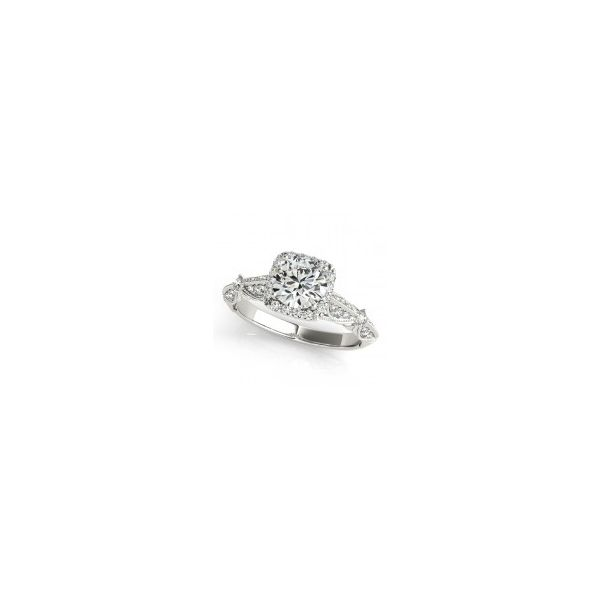 Knife Edge Pave Set Halo Diamond Engagement Ring The Ring Austin Round Rock, TX