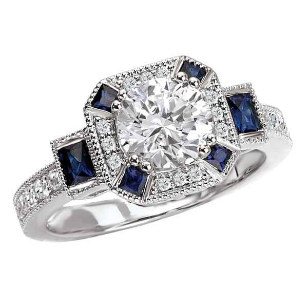 Bijou Antique Style Engagement Ring With Sapphire Accents The Ring Austin Round Rock Tx