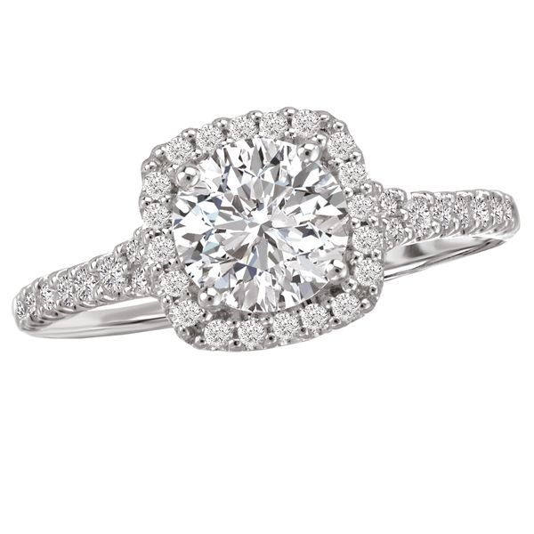 Classic Square Halo with Round Center Engagement Ring The Ring Austin Round Rock, TX