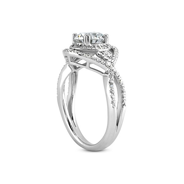 Criss Cross with Halo Diamond Engagement Ring Image 3 The Ring Austin Round Rock, TX