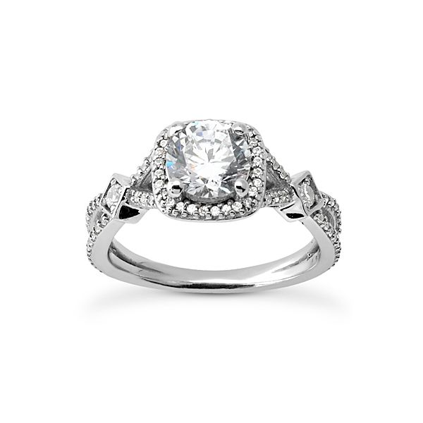 Diamond Halo Split Shank Engagement Ring The Ring Austin Round Rock, TX