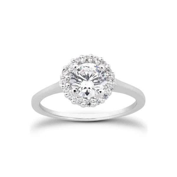 Solitaire engagement ring with diamond halo The Ring Austin Round Rock, TX