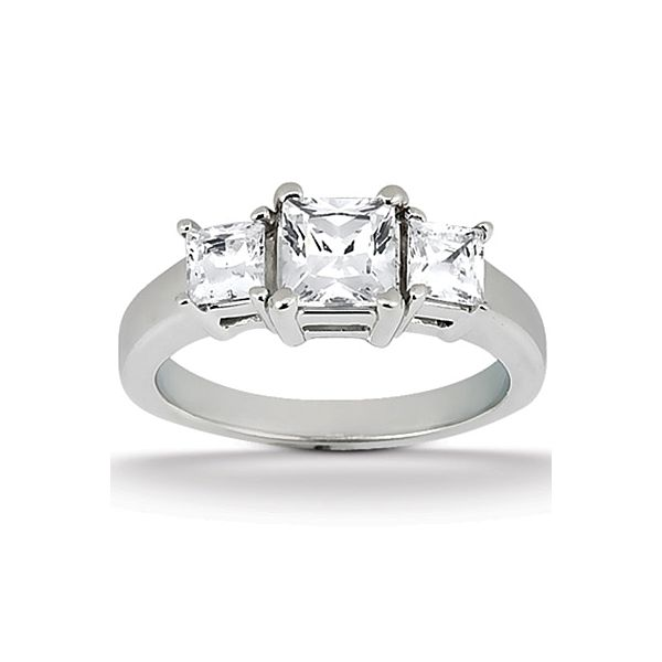 Three Stone Princess Cut Style Engagement Ring The Ring Austin Round Rock, TX