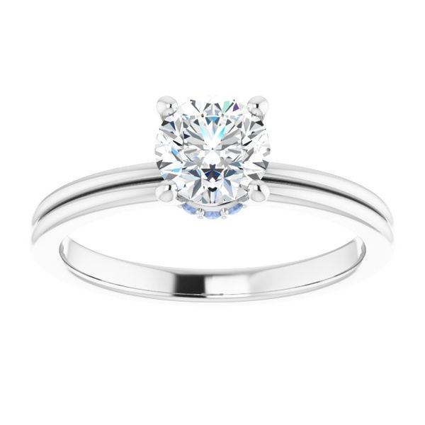 Plain Band Engagement Ring with Accent Diamond The Ring Austin Round Rock, TX