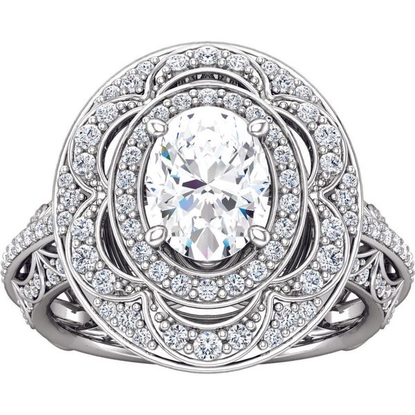 Antique Style Double Halo Engagement Ring Image 2 The Ring Austin Round Rock, TX