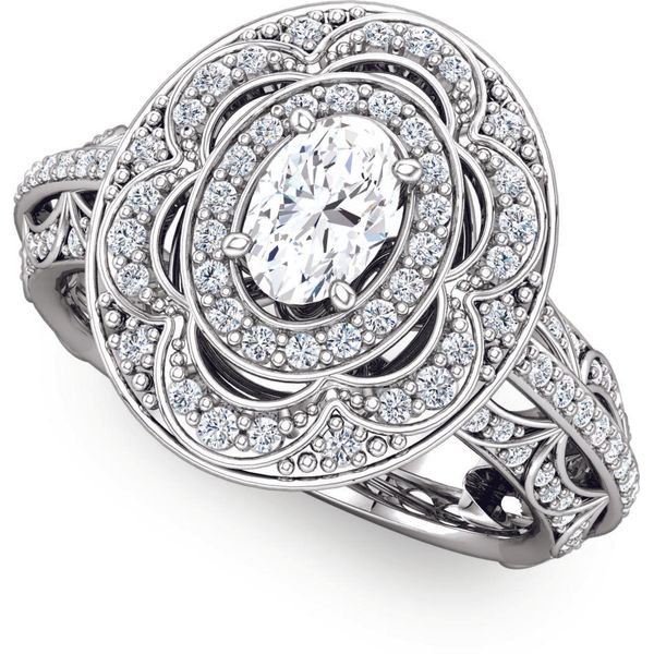 Antique Style Double Halo Engagement Ring The Ring Austin Round Rock, TX