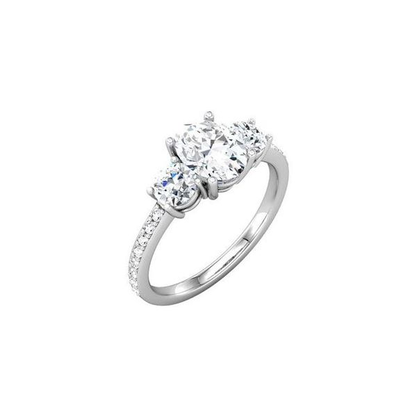 14k WG Oval Three Stone Engagement Ring The Ring Austin Round Rock, TX