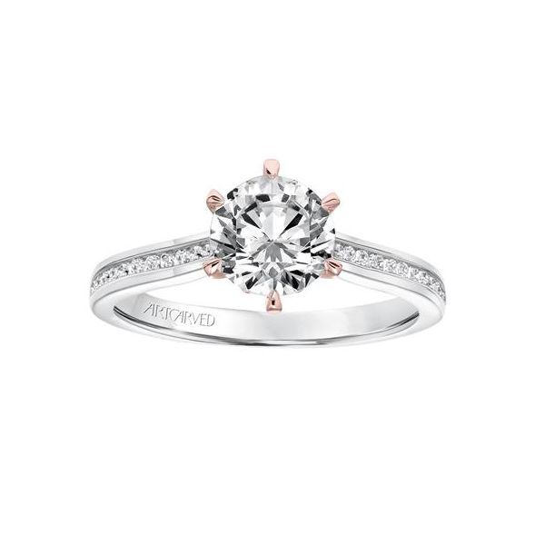 White Gold Engagement Ring With Rose Gold Fancy Crown The Ring Austin Round Rock Tx