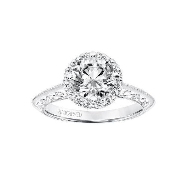 Vintage Halo Engagement Ring With Knife Edge Shank Filigree Scrollwork Image 2 The Austin Round