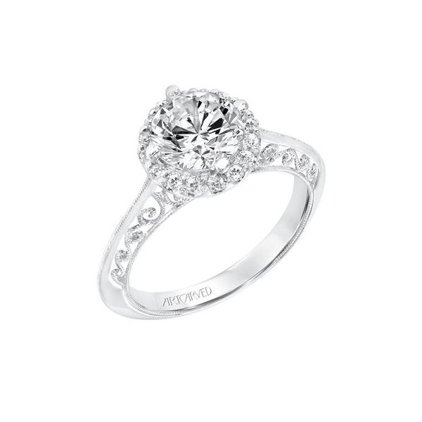 Vintage Halo Engagement Ring With Knife Edge Shank Filigree Scrollwork The Austin Round Rock