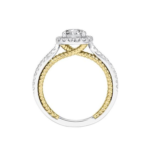 Contemporary Diamond Halo Ring with Two Tone Rope Detail and Split Shank Image 4 The Ring Austin Round Rock, TX