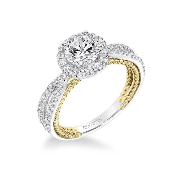 Contemporary Diamond Halo Ring with Two Tone Rope Detail and Split Shank The Ring Austin Round Rock, TX