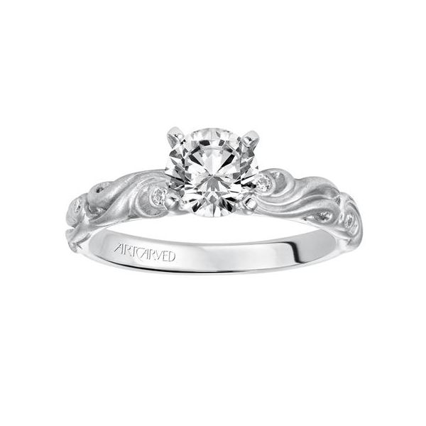 Carved Satin White Gold Engagement Ring Image 2 The Ring Austin Round Rock, TX