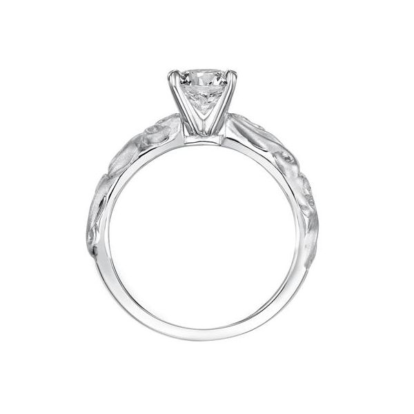Carved Satin White Gold Engagement Ring Image 4 The Ring Austin Round Rock, TX