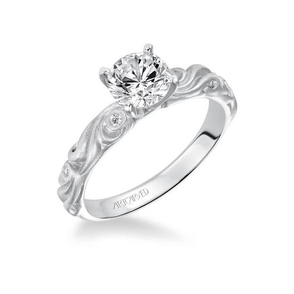 Carved Satin White Gold Engagement Ring The Ring Austin Round Rock, TX